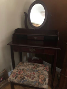 Vanity with Oval Mirror and Stool