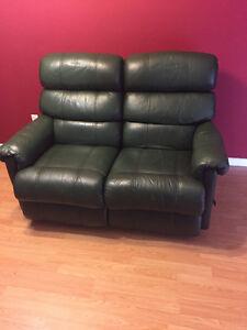 Dark Green Reclining Leather Loveseat & Sofa