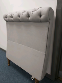 Knightsbridge Head and Footboard For Single Bed in Grey Upholstery Buttoned Effect - Brand New