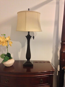 SET OF 2 TABLE LAMPS - ESPRESSO WITH TAUPE SHADES (LIKE NEW) London Ontario image 4