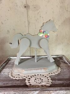 Hand Painted Wood Horse, Wood Pony,Grey Rustic Horse, Rustic Pon