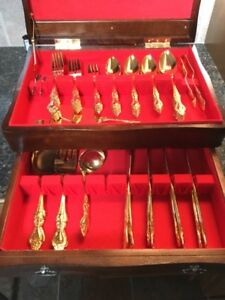 EXTRA CUTLERY FOR XMAS GUESTS  !!!Gold Plated Cutlery Set