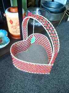 Heart-Shaped Beaded Basket with Handle Prince George British Columbia image 1