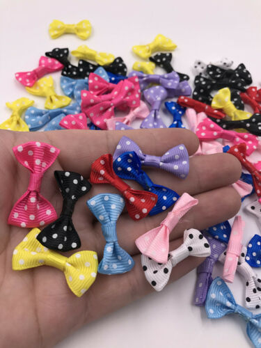 Mix 20pcs Stain Ribbon Bows Flowers Sewing Appliques Wedding Decor DIY Crafts