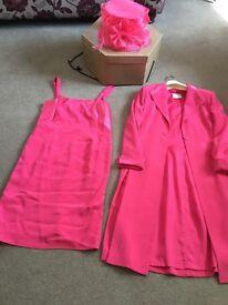 Cerise pink dress coat and hat