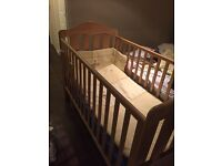 Mamas and Papas cot bed with mattress and 3 sets of bedding