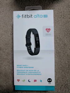 Fitbit alta hr heart rate fitness band size small black NEW