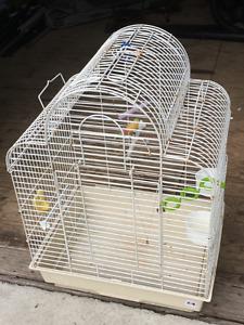 Cage pour oiseaux blanche avec accessoires