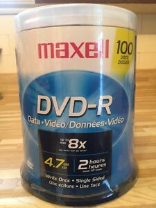 Maxell 8x DVD-R Media 100 Pack - never been opened