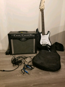Electric guitar + amp and pedal