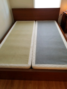 Queen bed with two single box springs