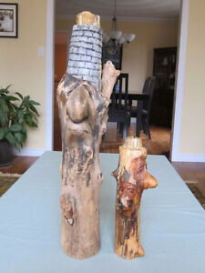 Carvings by artist Jamie Brick. The Large one is approximately
