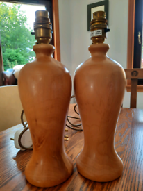 Pair of wood turned side lamp bases.