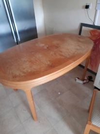 table solid but needs updating paint etc i have two chairs two