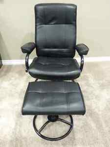 Faux Leather Reclining Chair & Footstool