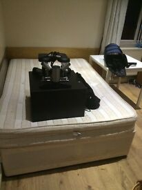DOUBLE BED (orthopeadic)+BEDSIDE CUPBOARD+STEPPER