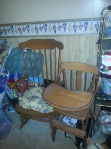 Rocking chair and baby high chair