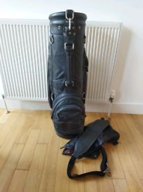 Black leather golf bag very good condition