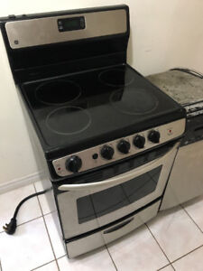 """RARE GE 24"""" stainless steel ceramic top electric stove oven 3 YR"""