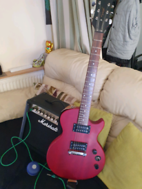 Electric guitar and Marshall amplifier