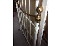 Beautiful Cream & Brass Bed - Can Deliver