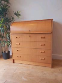 Mid century modern danish style desk bureau drawers