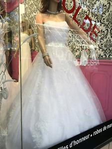 White floral wedding dress