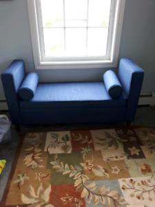wayfair blue bench seat and storage ottoman