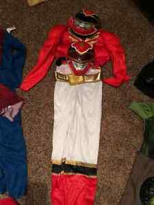 Boys size 6 red power ranger costume with 2 masks