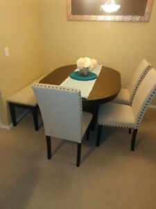 Extendable dining table, 3 chairs + bench (see ad for pricing)