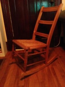 Antique Ladder-back  Rocking Chair with Caned Seat