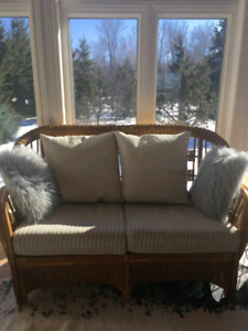 Wicker Chair and Love Seat