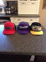 3 flat beak hats