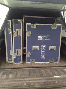 2 Road cases on casters lined with black foam