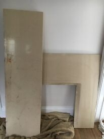 Marble hearth and back plate for gas fire etc