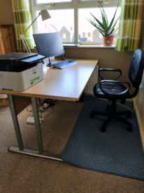 Computer desk and black leather swivel chair £59
