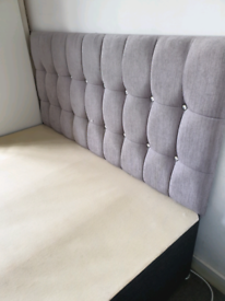 4ft6 small double bed base & headboard
