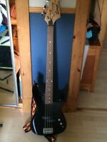 Stage bass guitar and peavey amp