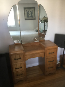 Antique waterfall trifold mirror vanity, filing cabinet