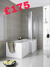 L Shape Shower Bath, Glass Screen and Front Panel by Premier
