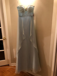 baby blue long dress with crystal beaded along neckline.