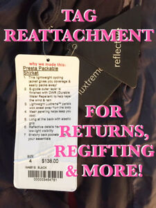 TAG REATTACHMENT SERVICE - for item returns / exchanges & more