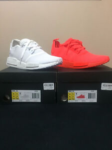 DS Adidas NMD R1 Monochrome Pack: Triple White, Solar Red