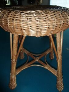 Vintage Wicker/Rattan  Stool, Plant Stand or Side table.