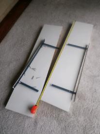 Ikea floating shelves 110cm by 26cm.