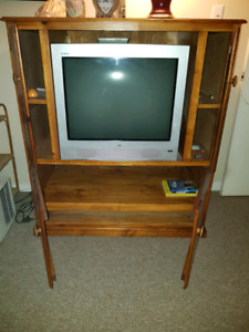 TV  stand and 27 inch TV.