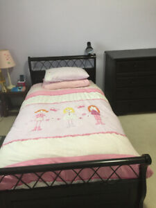 Twin Bed and Morigeau Dresser in matching Expresso