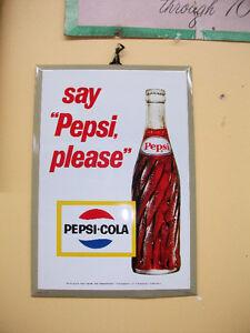 1963 NOS pancarte annonce publicitaire  Pepsi Cola