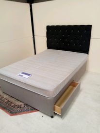 Double divan bed with two drawers and headboard (free delivery)