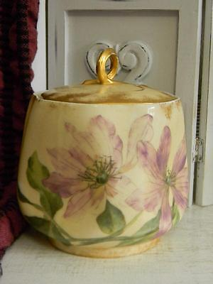 Exquisite Antique Porcelain Hand Painted Floral English Biscuit Jar
